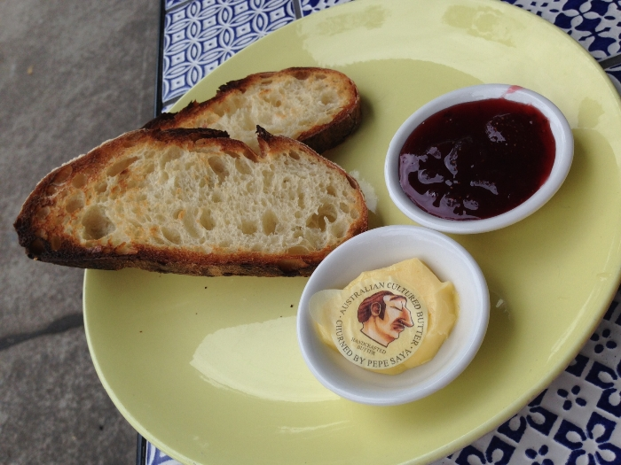 Brickfield's toast with butter and strawberry jam ($5). Photo by Emily Staresina.