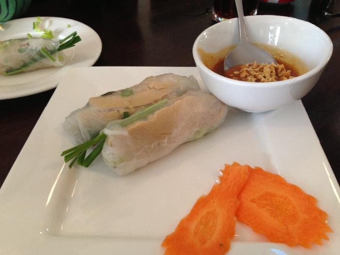 vegetarian rice paper rolls with peanut sauce ($6). Photo by Emily Staresina
