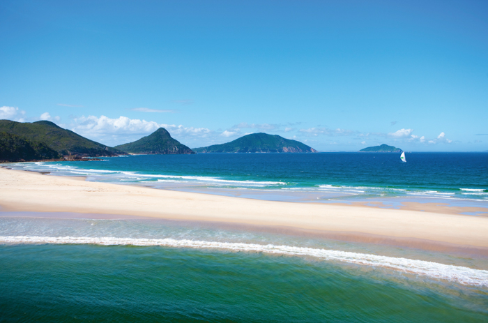 View of Fingal Spit looking towards Mount Tomaree, Port Stepens.