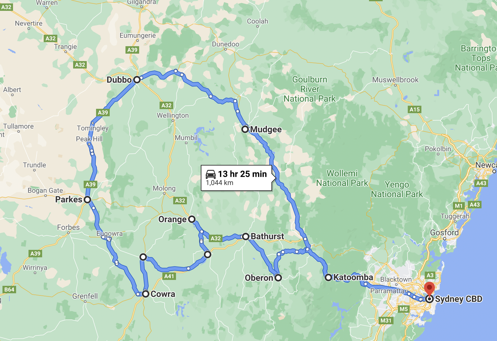 Central West NSW Road Trip Map